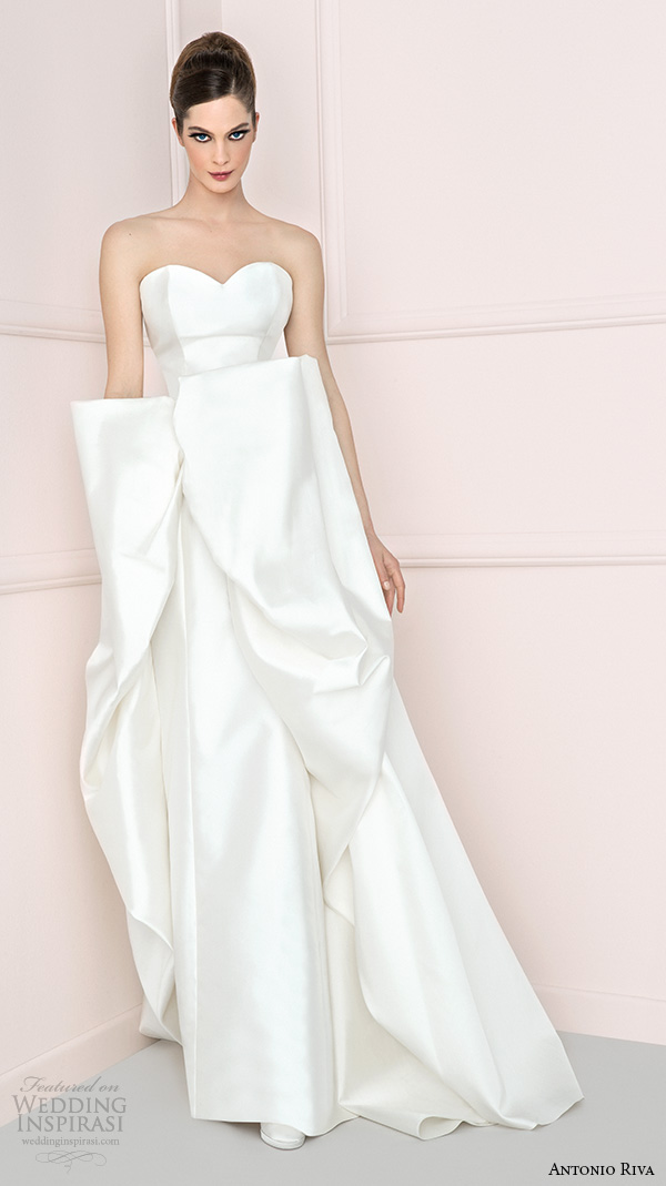 antonio riva 2016 bridal dresses chic strapless sweetheart neckline sheath wedding dress structured over skirt iole