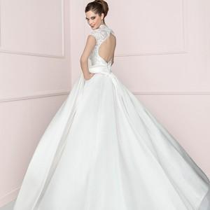antonio riva 2016 bridal dresses sheer lace cap sleeves jewel v neckline ball gown wedding dress luna back view