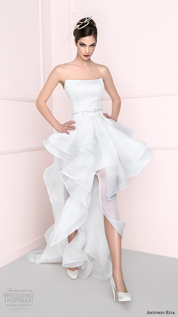 f000c8892a13 antonio riva 2016 bridal dresses straight across neckline mini skirt peplum wedding  dress with train bprov