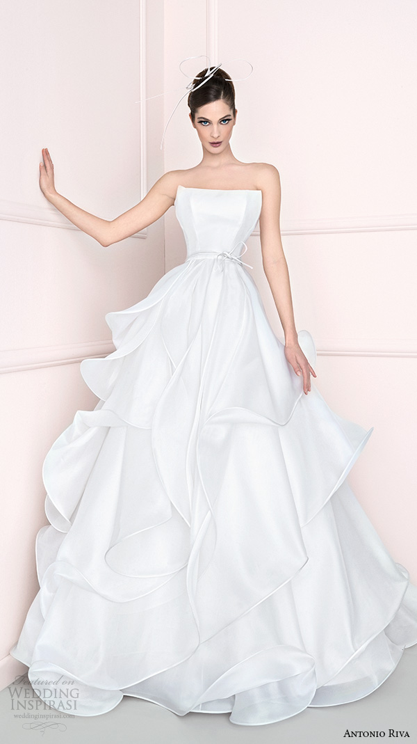 antonio riva 2016 bridal dresses straight across neckline tiered wedding ball gown dress cprov