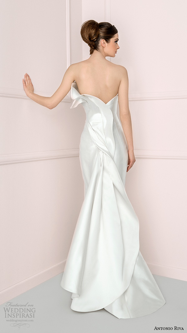 antonio riva 2016 bridal dresses strapless sheath wedding dress iris back view