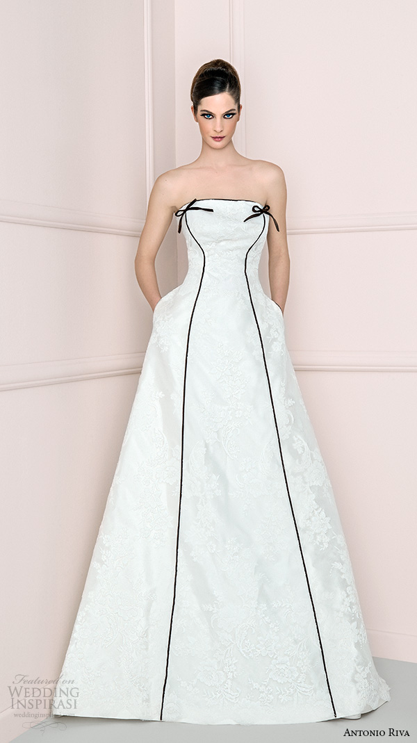 antonio riva 2016 bridal dresses strapless straight across neckline a line wedding dress with pockets dprov