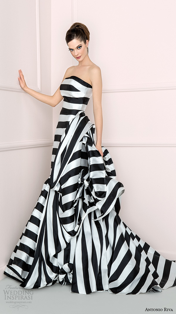 antonio riva 2016 bridal dresses strapless straight across neckline black white stripes colored fit to flare wedding dress albabn