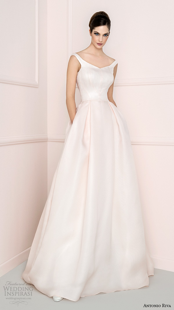 antonio riva 2016 bridal strap v neckline blush a line wedding dress with pockets crudelia