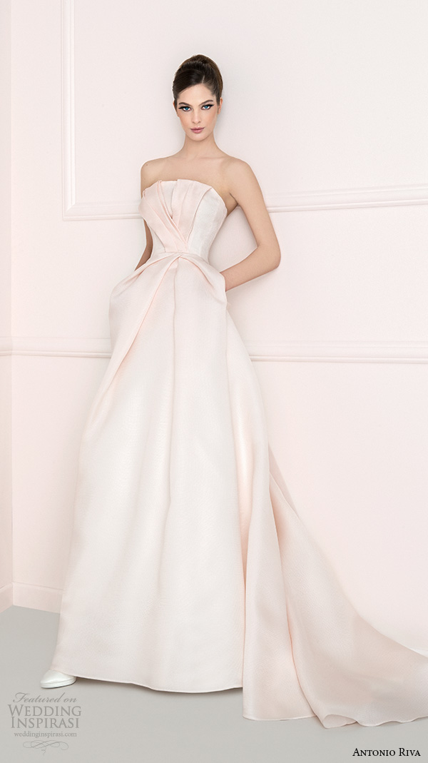 antonio riva 2016 bridal strapless straight across neckline blush pretty a line wedding dress with pockets manuela
