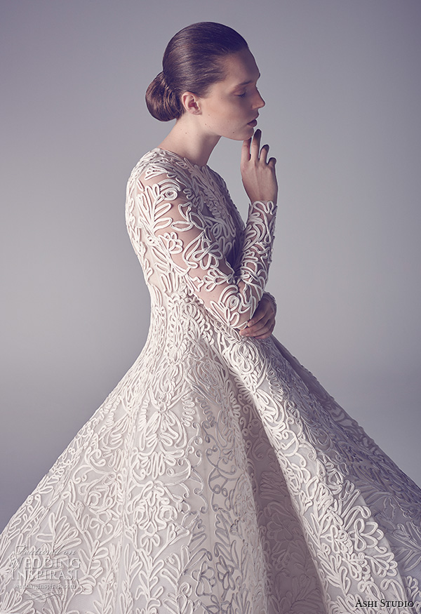 ashi studio couture 2015 jewel neckline long sleeves intricate floral embroideries high low ball gown dress close up