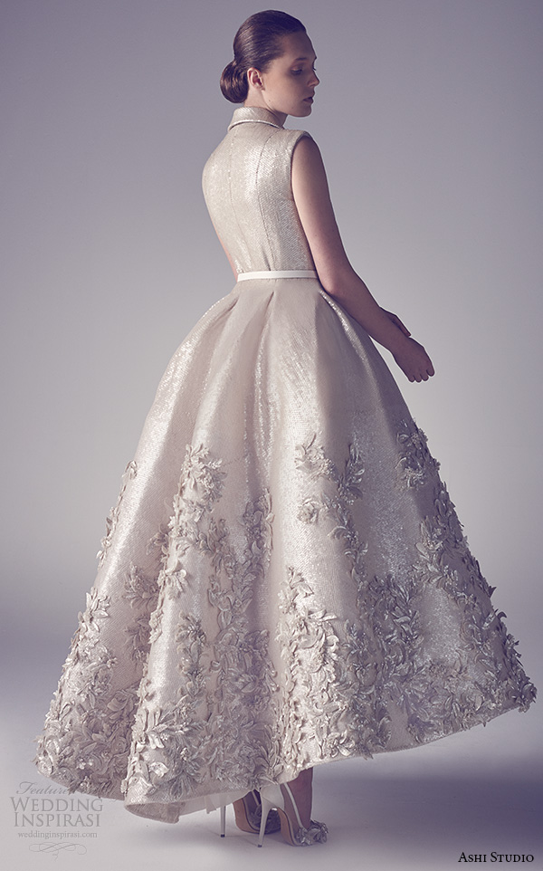 ashi studio couture 2015 sleeveless notch collar beautiful floral embroidery tea length dress back view