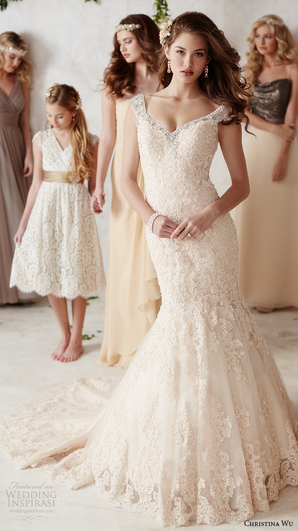 christina wu wedding dresses 2015 sleeveless v neckline lace embroidery beautiful mermaid wedding dress 15585