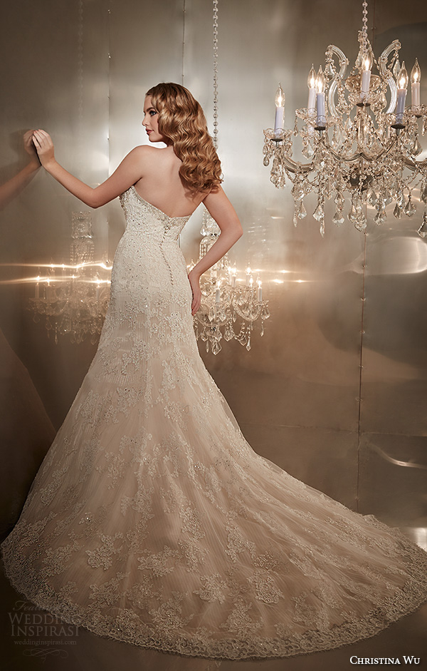 christina wu wedding dresses 2015 strapless sweetheart neckline beaded bodice gorgeous trumpet mermaid wedding dress 15565 back view