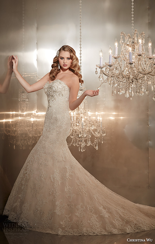 christina wu wedding dresses 2015 strapless sweetheart neckline beaded bodice gorgeous trumpet mermaid wedding dress 15565