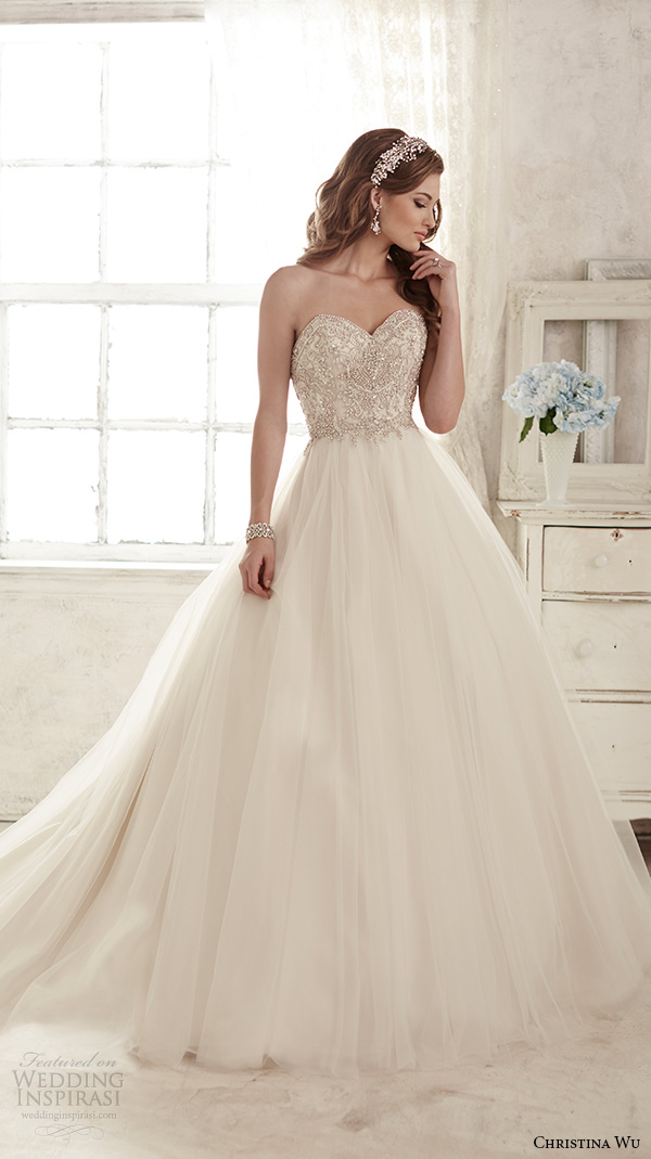 christina wu wedding dresses 2015 strapless sweetheart neckline embroidered bodice tulle skirt gorgeous ball gown wedding dress 15583