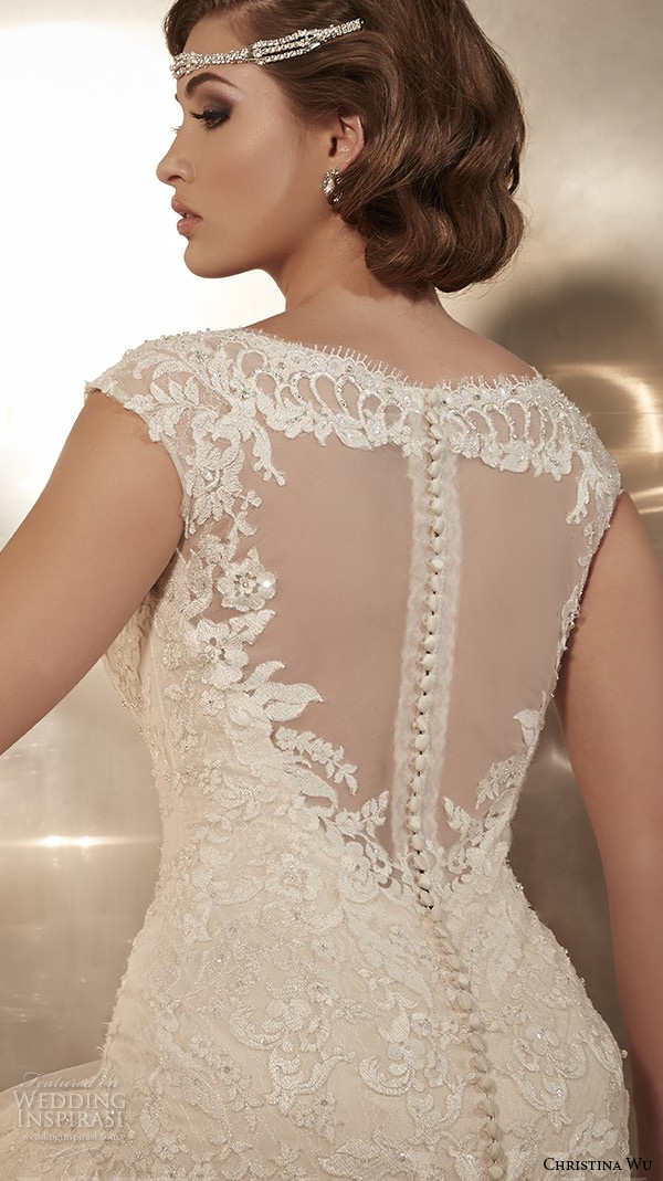 christina wu wedding dresses 2015 thick lace strap beaded bodice beautiful mermaid wedding dress 15568 back view zoom