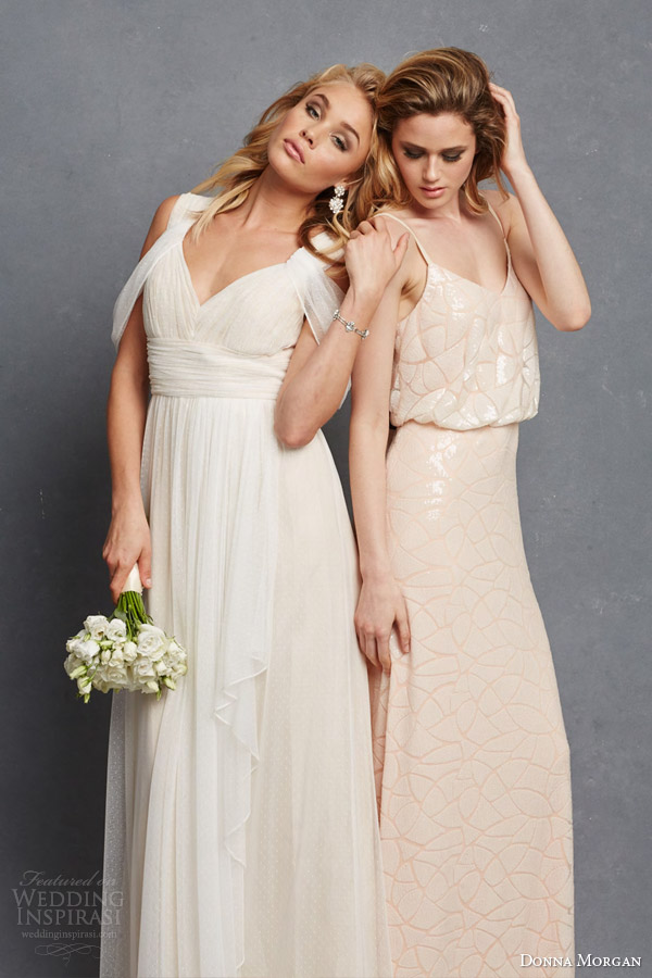 Donna Morgan Bridal Bridesmaid Dresss Colette Gown Shoulder Drape Olivia Blouson Sleeveless