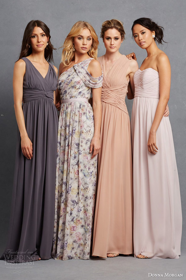 Donna Morgan Bridal Bridesmaids Gowns Sleeveless One Shoulder Dresses In Various Colors Prints Styles