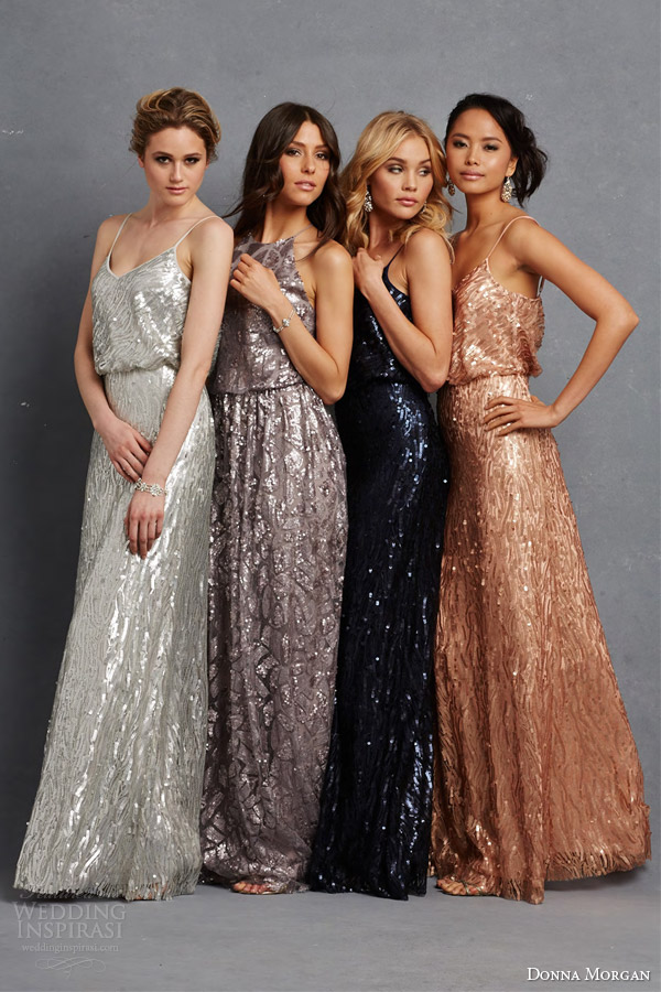 Donna Morgan Bridesmaid Dress Multi Color Bridesmaids Gowns Metallic Pailette Beading Silver Grey Taupe Blue Copper
