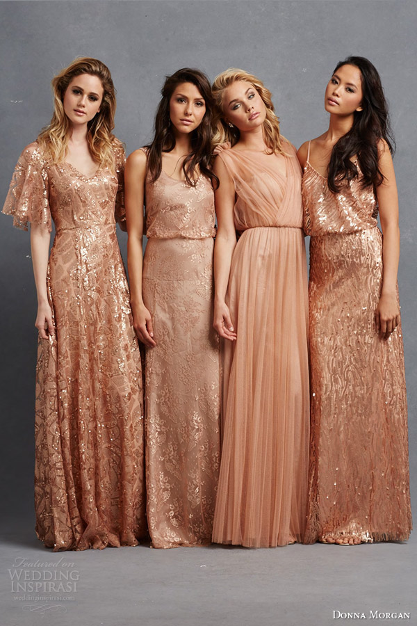 Donna Morgan Bridesmaid Dresses Camilla Natalya Courtney Emmy Gowns Flutter Sleeves Blouson Sleeveless Peach Copper Rose