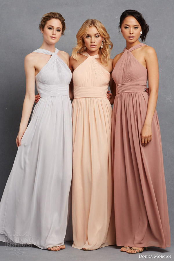 Donna Morgan Bridesmaid Dresss In Neutral Pastel Shades Grey Peach Pink Blush