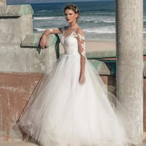 elbeth gillis 2016 bridal illusion lace half sleeves sweetheart neckline tulle ball gown wedding dress lila