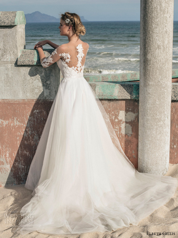 elbeth gillis 2016 bridal illusion lace half sleeves sweetheart neckline tulle ball gown wedding dress lila back view