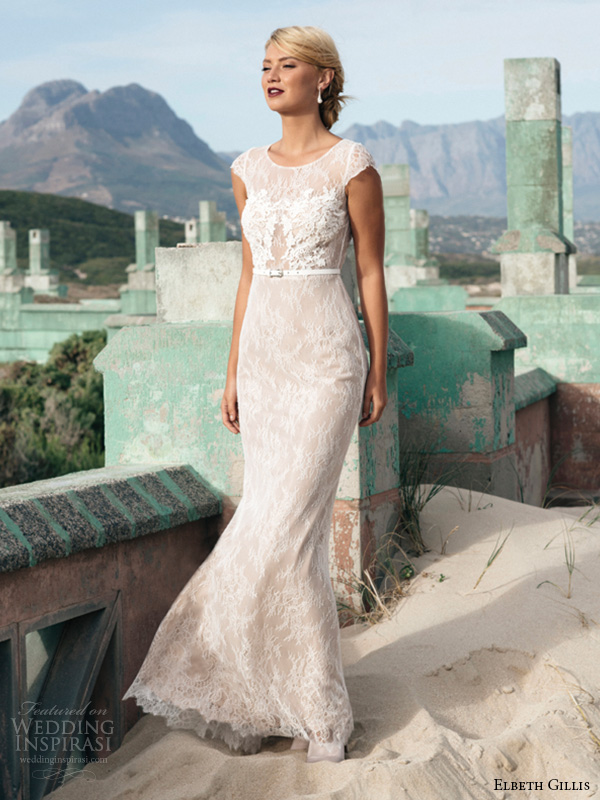 elbeth gillis 2016 bridal jewel neckline cap sleeves sheath wedding dress georgina