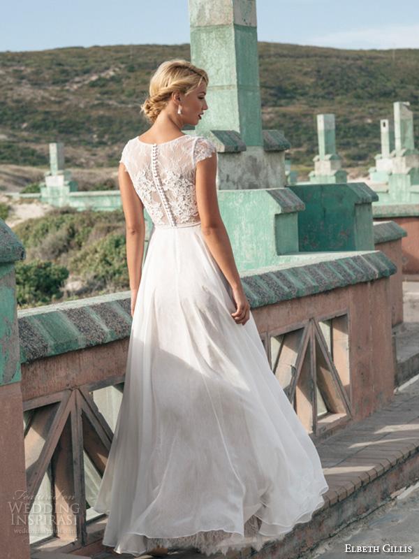 elbeth gillis 2016 bridal jewel neckline cap sleeves sheath wedding dress with tulle overskirt georgina back view