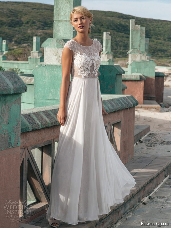 elbeth gillis 2016 bridal jewel neckline cap sleeves sheath wedding dress with tulle overskirt georgina front view
