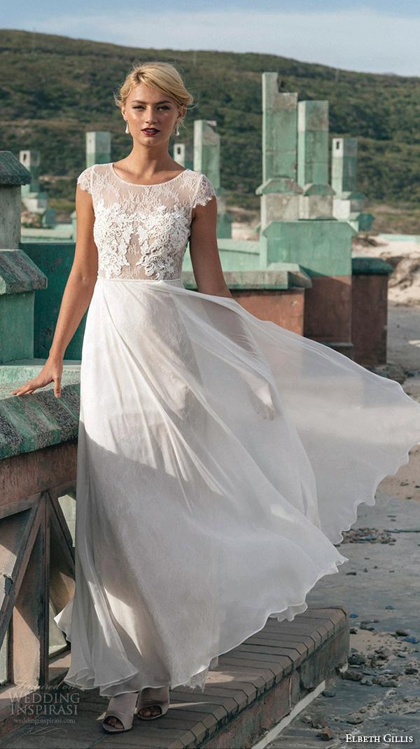 elbeth gillis 2016 bridal jewel neckline cap sleeves sheath wedding dress with tulle overskirt georgina