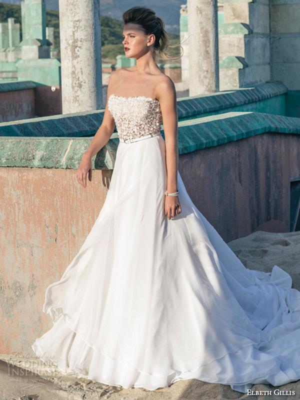 elbeth gillis 2016 bridal semi sweetheart neckline beaded bodice a line wedding dress kelly side view