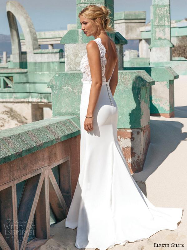 elbeth gillis 2016 bridal sleeveless lace jewel neckline embroidery lace bodice sheath wedding dress alicia side view