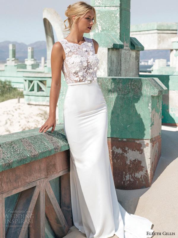 elbeth gillis 2016 bridal sleeveless lace jewel neckline embroidery lace bodice sheath wedding dress alicia