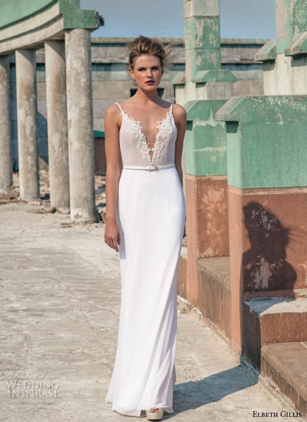 Elbeth gillis 2016 wedding dresses opulence bridal for Plunge neck wedding dress