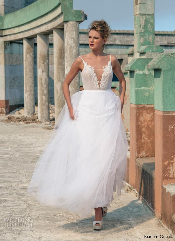 elbeth gillis 2016 bridal spagetti strap deep plunging neckline tulle overskirt sheath wedding dress nicole