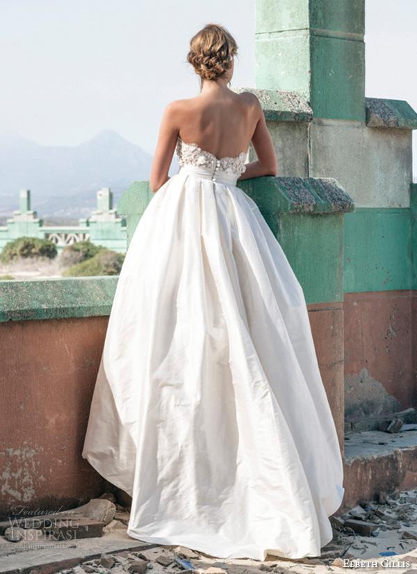 elbeth gillis 2016 bridal strapless sweetheart neckline a line ball gown wedding dress rose back view