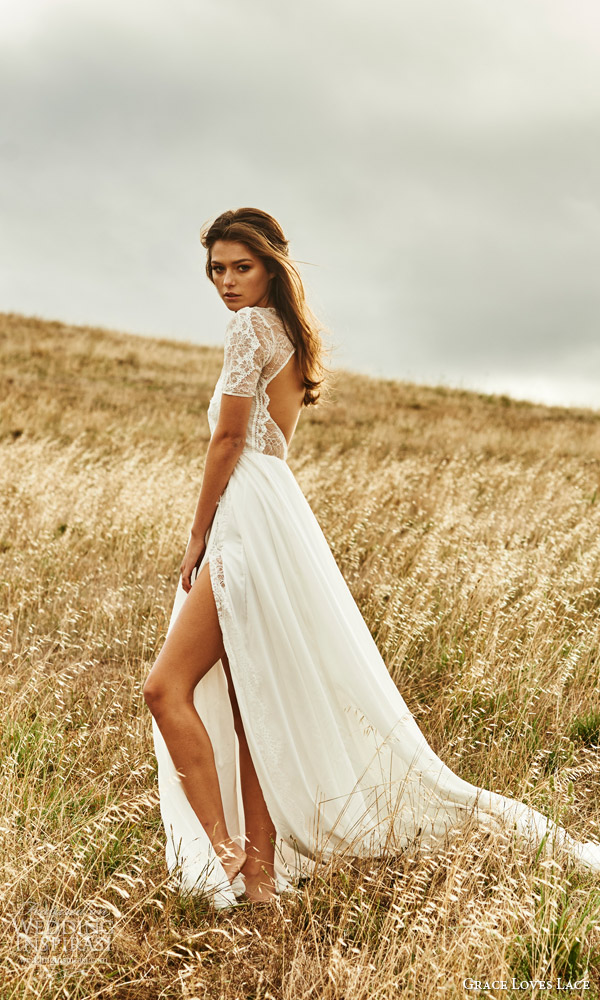 grace loves lace 2015 valentina illusion short sleeve wedding dress keyhole back side view