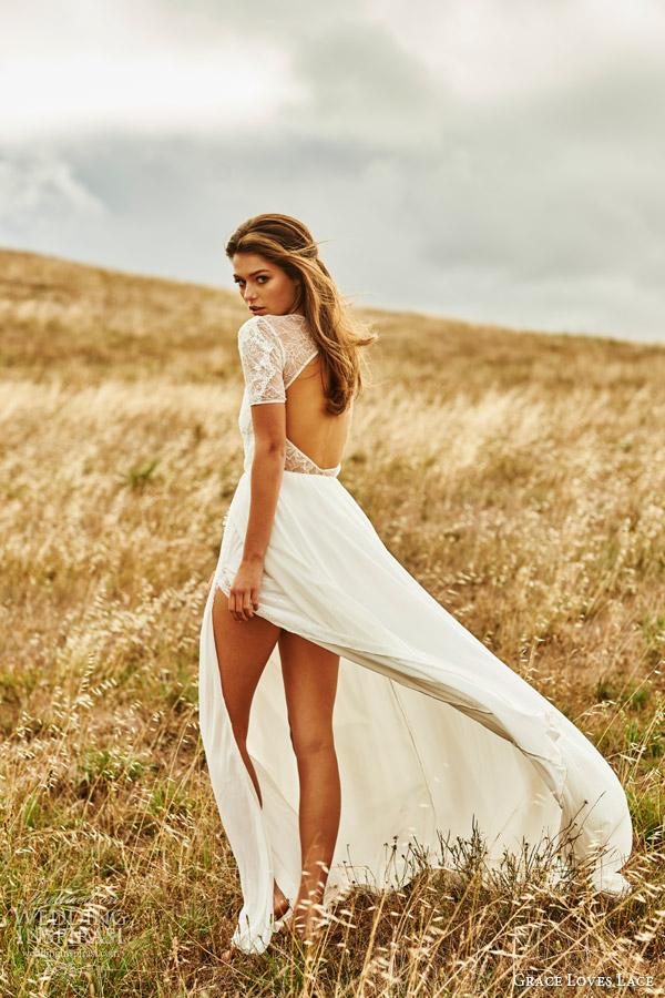 grace loves lace 2015 valentina illusion short sleeve wedding dress keyhole back