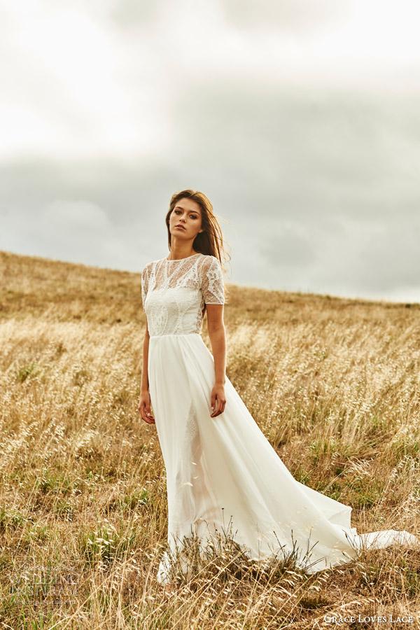 grace loves lace 2015 valentina illusion short sleeve wedding dress