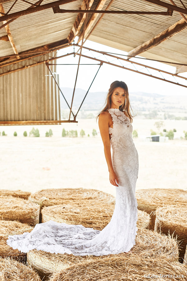 grace loves lace bridal 2015 alexandra sleeveless halter neck lace wedding dress fishtail train side view