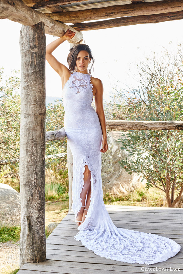 fcf4a429738 grace loves lace bridal 2015 alexandra sleeveless halter neck lace wedding  dress fishtail train