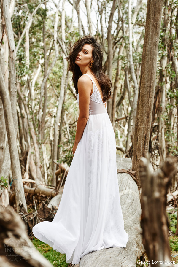 grace loves lace bridal 2015 bambi wedding dress sleeveless v neck a line embroidered skirt chiffon overlay