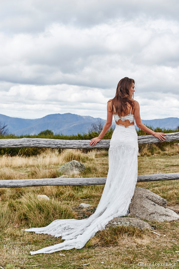 grace loves lace bridal 2015 cordelia sleeveless stretch french lace wedding dress batwing train keyhole back view