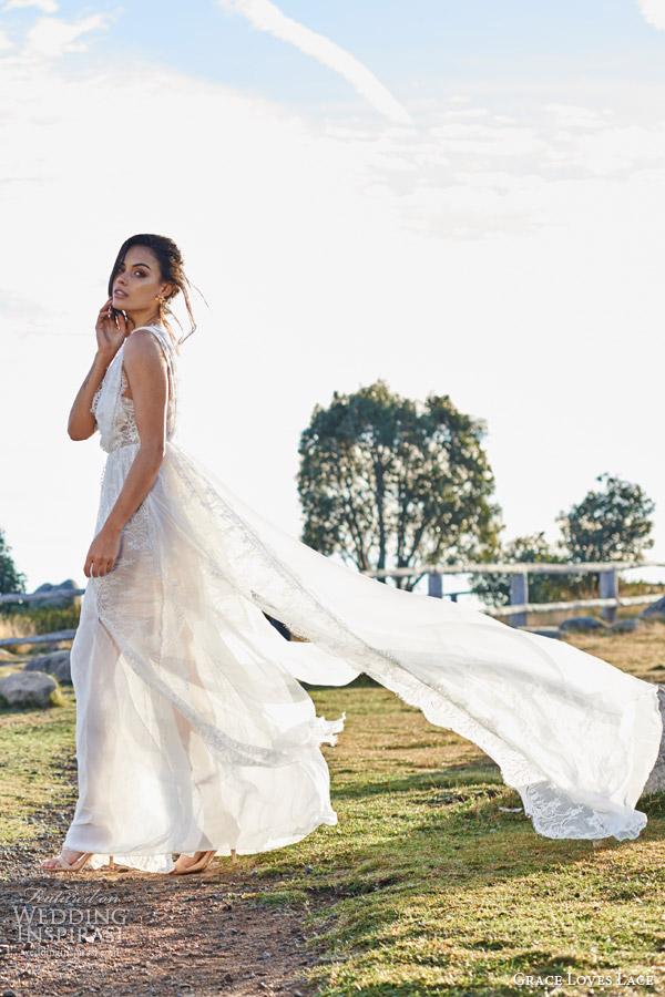 grace loves lace bridal 2015 genevive french chantilly eyelash lace strech lace silk chiffon wedding dress side view