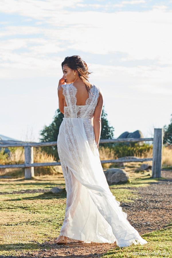 grace loves lace bridal 2015 genevive french chantilly eyelash lace strech lace silk chiffon wedding dress zoom
