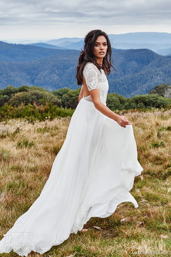 grace loves lace bridal 2015 valentina short sleeve lace wedding dress side view keyhole back