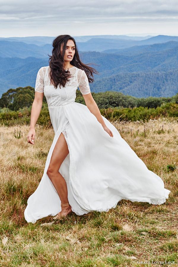grace loves lace bridal 2015 valentina short sleeve lace wedding dress side view keyhole front slit