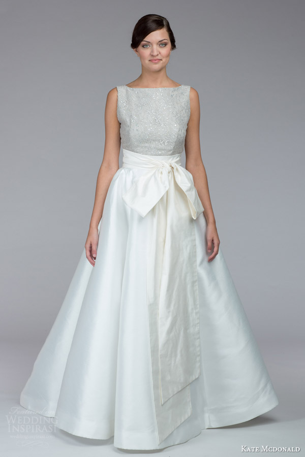 kate mcdonald bridal fall 2015 amanda sleeveless short wedding dress overskirt