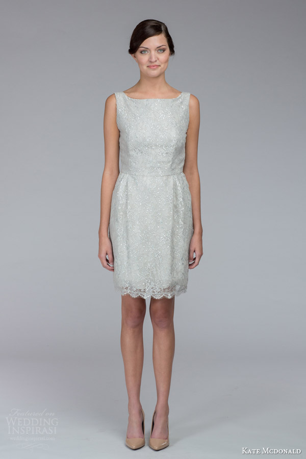 kate mcdonald bridal fall 2015 amanda sleeveless short wedding dress