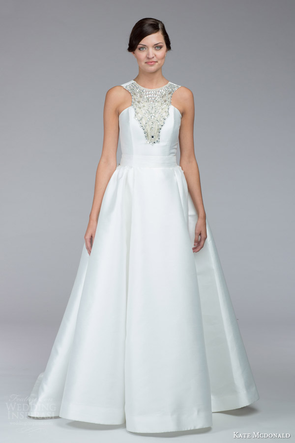 kate mcdonald bridal fall 2015 beatrice mini wedding dress jeweled necklinen mikado over skirt optionn