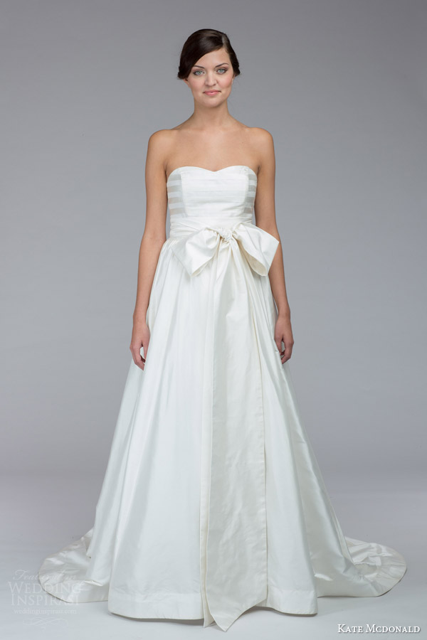 kate mcdonald bridal fall 2015 bonnie strapless mini stripe wedding dress