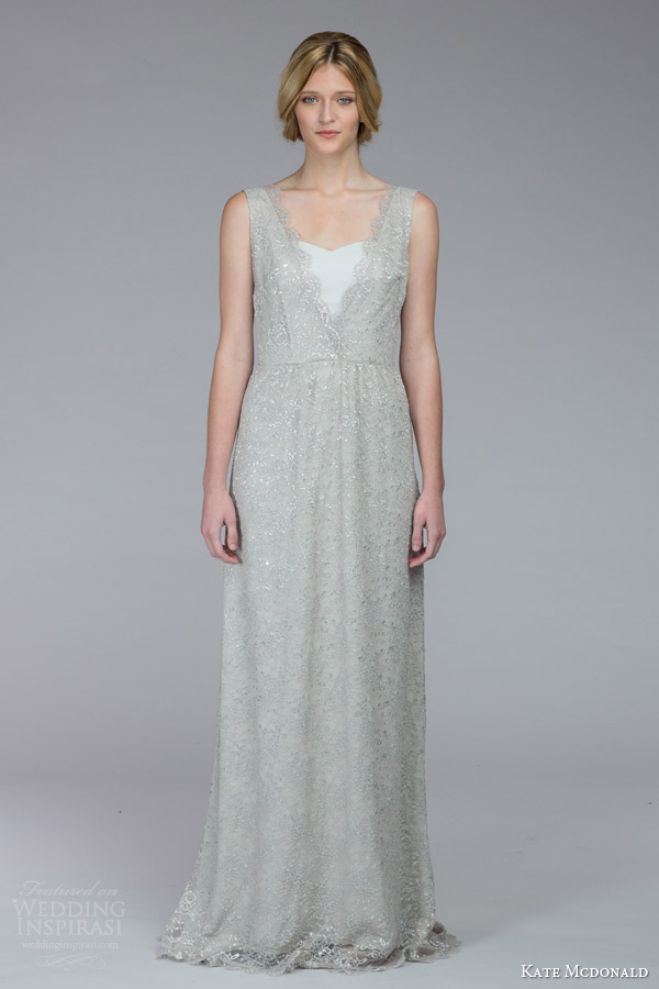 kate mcdonald bridal fall 2015 buchanan silver lace sleeveless wedding dress