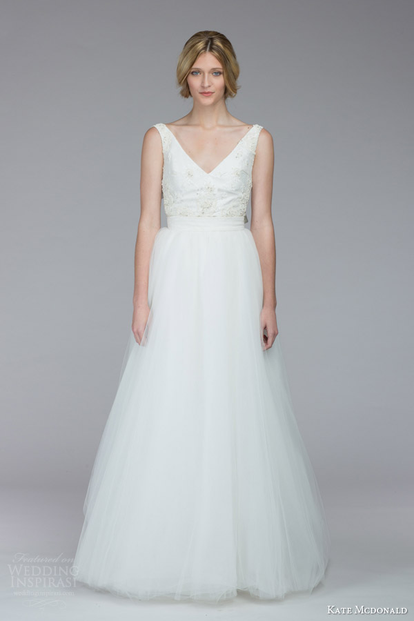 kate mcdonald bridal fall 2015 calhoun sleeveless a line wedding dress v neckline